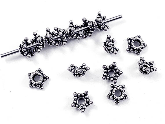 8mm 5-Point Star Bali Silver Bead Cap  (larger size of C008)