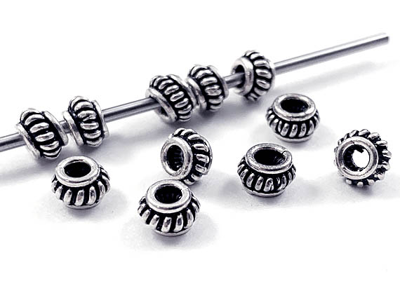 Bali Style Silver Coil Spacer Bead  3.6x5.9mm
