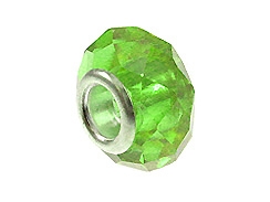 August Faceted Glass Birthstone Bead - Peridot
