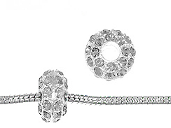 14mm Rhinestone Plated Beads - Crystal