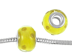 14mm Lampwork Glass Beads -  Plated Core
