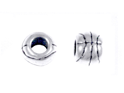 Sterling Silver Basketball large Hole Bead-6x7.75mm (3.75mm Hole)