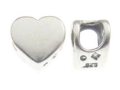 Sterling Silver Large Hole Plain Heart Shape Bead