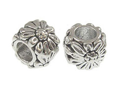 Sterling Silver Flower Accent Large Hole Bead-6.1x7.5mm (3.8mm Hole)