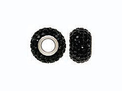 Jet Black Rhinestones - 12x8mm Rondelle with  4.5mm Large Hole  with Sterling Core, Pandora Compatible
