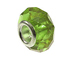 August Faceted Glass Birthstone Bead, with Plated Silver Core  - Dark Peridot