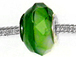 Faceted Large Hole Glass Bead - Green