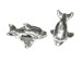 Sterling Silver Dolphin Shape Large Hole Bead-9x14x8.5mm (3.9mm Hole)