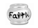 10mm Sterling Silver FAITH bead with 4.5mm hole, Pandora Compatible