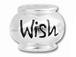 10mm Sterling Silver WISH  bead with 4.5mm hole, Pandora Compatible