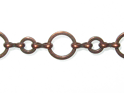 10+6mm Round Link Chain: Antique Copper Finish