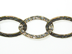 Fancy Hammered Oval Chain: Antique Brass Finish
