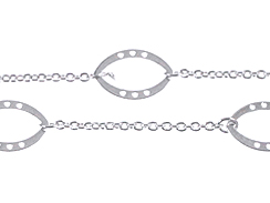 Fancy Marquise Station With Cable Chain: Silver plated