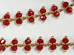 Chinese Red Faceted 3.5mm Round Crystal Glass wire wrapped chain by foot -  Brass and copper chain