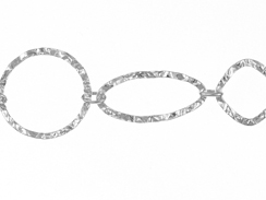 Sterling Silver Hammered Diamond, Marquise & Circle Link Chain
