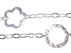 Sterling Silver Hammered Flower & Circle Station Chain
