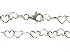 16-inch Sterling Silver Heart Link Chain