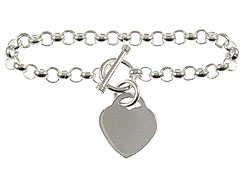 8-inch Sterling Silver Rolo Bracelet With Heart Charm