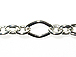 Diamond & Oval Link Chain: Silver Finish