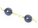 Faceted Agate 8mm Round Beaded Station Chain by foot - Navy Blue Rosary Chain Gold