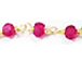 Dyed Ruby 3mm Faceted Gold Plated Wire Wrapped Chain - CHGS-RB