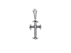 Sterling Silver Lined Cross Charm