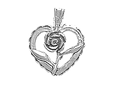 Sterling Silver Heart with  Rose