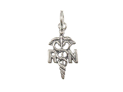 Sterling Silver RN Caduceus Charm with Jumpring