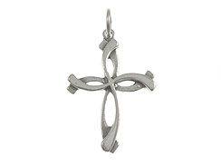 Sterling Silver Swirl Cross Charm with Jumpring