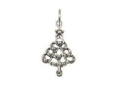 Sterling Silver Flat Christmas Tree Charm with Jumpring