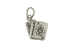 Sterling Silver Playing Cards A,K,Q Charm with Jumpring