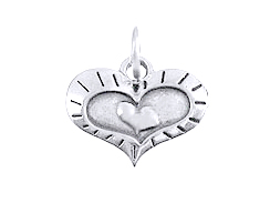 Sterling Silver Heart In A Heart, In A Heart Charm with Jumpring