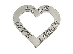 Sterling Silver Affirmation Heart: Love, Live and Laugh Charm with Jumpring
