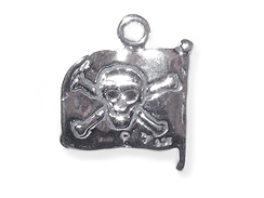 Sterling Silver Pirate Flag (Double Sided)