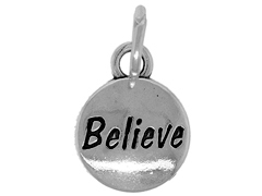 Sterling Domed Message Charm - BELIEVE