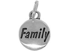 Sterling Domed Message Charm - FAMILY