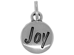 Sterling Domed Message Charm - JOY