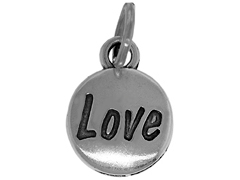 Sterling Domed Message Charm - LOVE