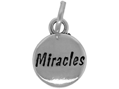 Sterling Domed Message Charm - MIRACLES