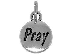 Sterling Domed Message Charm - PRAY