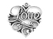 Sterling Silver Filigree Heart with Love Charm
