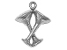 Sterling Silver Crossed Wine Glass Charm