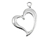 Sterling Silver Curved Heart Charm