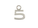 9mm Sterling Silver Number Charm -  5