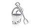 Sterling Silver 2 Piece Pail & Shovel Charm with Jumpring