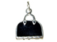 Sterling Silver Black Enameled Purse Charm