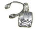 Sterling Silver CD Player with Headphone 2 Piece Charm
