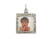 Sterling Silver Double Sided Design Square Picture Frame Charm with Jumpring