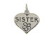 Sterling Silver Heart with Sister Charm with Jumpring