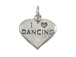 Sterling Silver Heart with I Love Dancing Charm with Jumpring